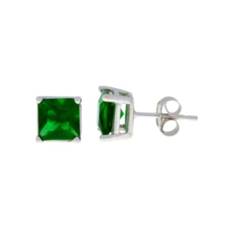 c2f152f70525c .925 Sterling Silver Lab-Created Emerald Princess Cut Stud Earrings