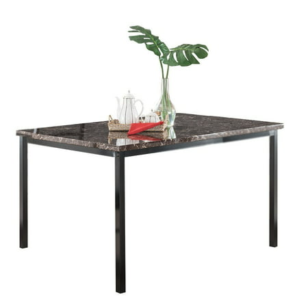 - Maxen Kitchen Dinette Dining Table, Black Metal Frame & Faux Marble Top, 48