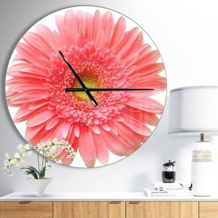 DESIGN ART Designart 'Single Daisy on White Background' Oversized Floral Wall CLock 23 in. wide x 23 in.