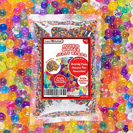 1 Pound Mixed Bag of Assorted Multi-Color Water Gel Pearls Beads for Home Decoration, Wedding Centerpiece, Vase Filler, Plants, Toys, Education (Makes 12 Gallons) by Super Z Outlet (Vase Fillers For Halloween)