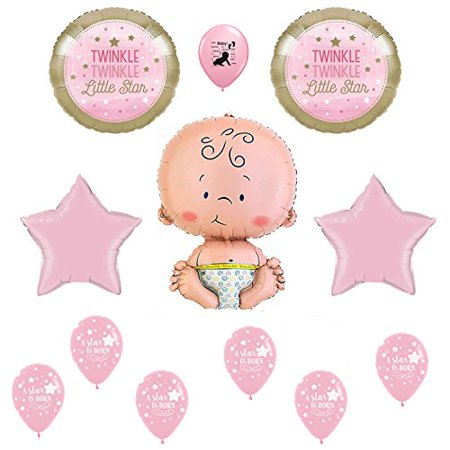 Pink Twinkle Twinkle Little Star Girl Baby Shower 12 Piece Balloon Bouquet