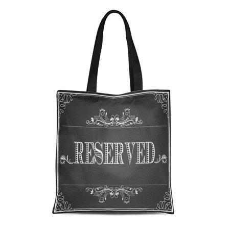 Reserved Table (LADDKE Canvas Tote Bag Sign Wedding Chalkboard Reserved Table Diy Bride Guest Book Reusable Handbag Shoulder Grocery Shopping)