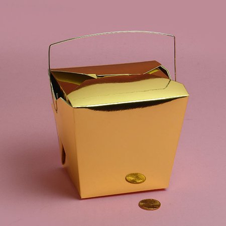 Gold Metallic Medium 4 x 3-1/2 x 4 inches Colored Paper Chinese Take Out Food Favor Boxes, 24 pack - Chinese Takeout Boxes