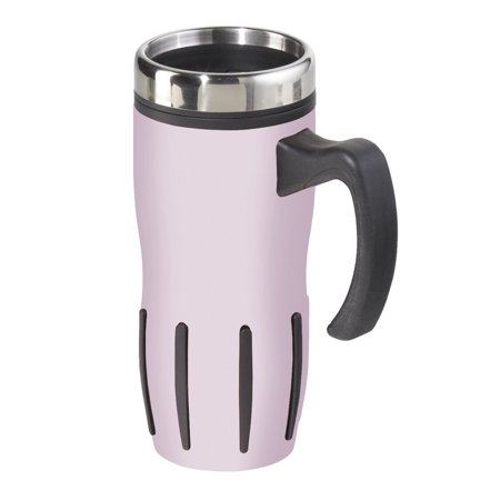 Oggi 5064.13 Lustre Stainless Steel Multi-Grip Travel Mug, 16-Ounce, Pink