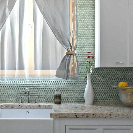 10 Porcelain Finish - Somertile  12x12.625-inch Penny Mint Green Porcelain Mosaic Floor and Wall Tile (10 tiles/10.2 sqft.)