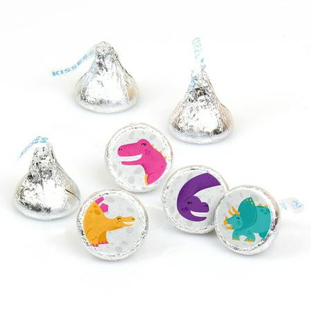 Roar Dinosaur Girl - Dino Mite T-Rex Baby Shower or Birthday Party Round Candy Sticker Favors - Labels Fit Hersheys