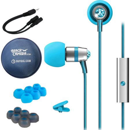 MEElectronics Crystal In-Ear Headphone w/ Microphone Made with Swarovski Crystals Turquoise (EP-M11J-TQ-MEE) Monoprice 6-inch 3.5mm Splitter Stereo 3.5mm Stereo Jack Cable & Buydig Earphone Case Blue