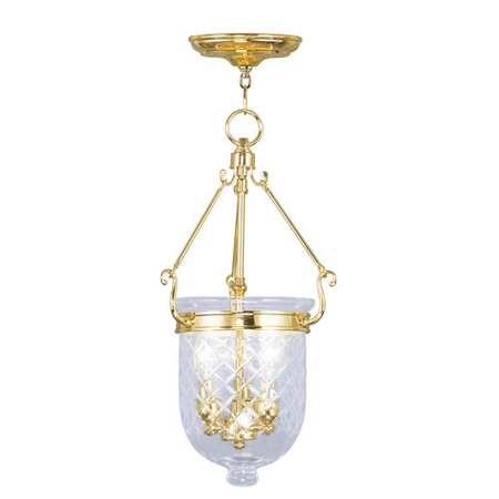 Pendants Porch 3 Light With Clear Diamond Glass Polished Brass size 10 in 180 Watts - World of (10 Polished Brass Glass)