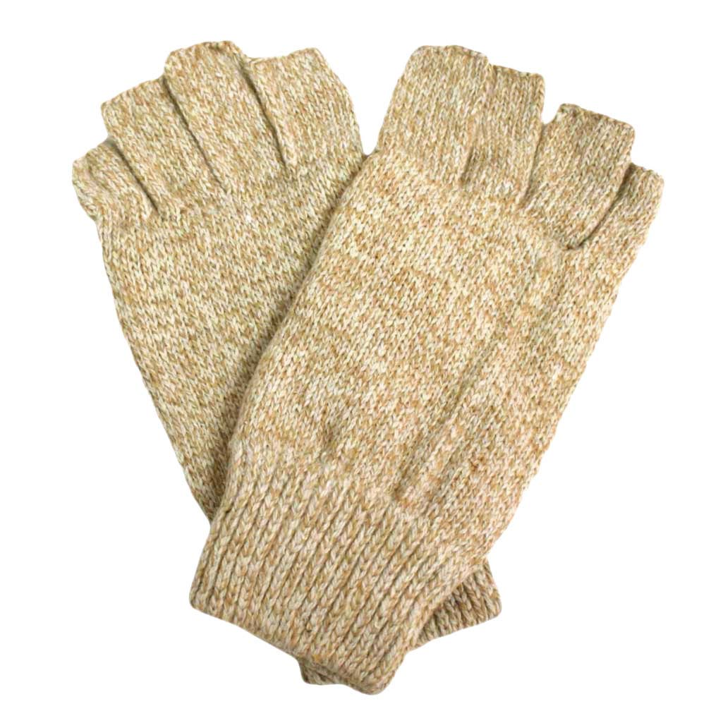 Tan Thermal Insulated Mens Fingerless Texting Gloves