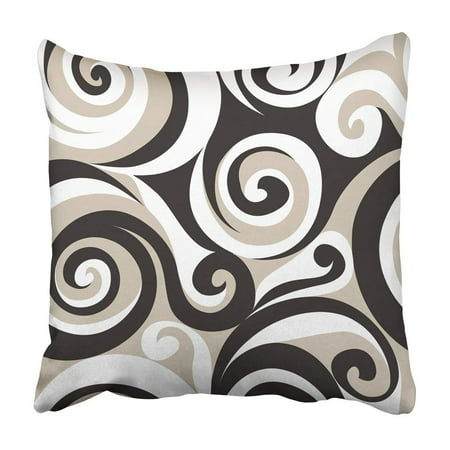 BPBOP Curl Modern Floral Endless Abstract Tricolor Fancy Ornate With Scrolls And Leaves Swirl Pillowcase 18x18 inch