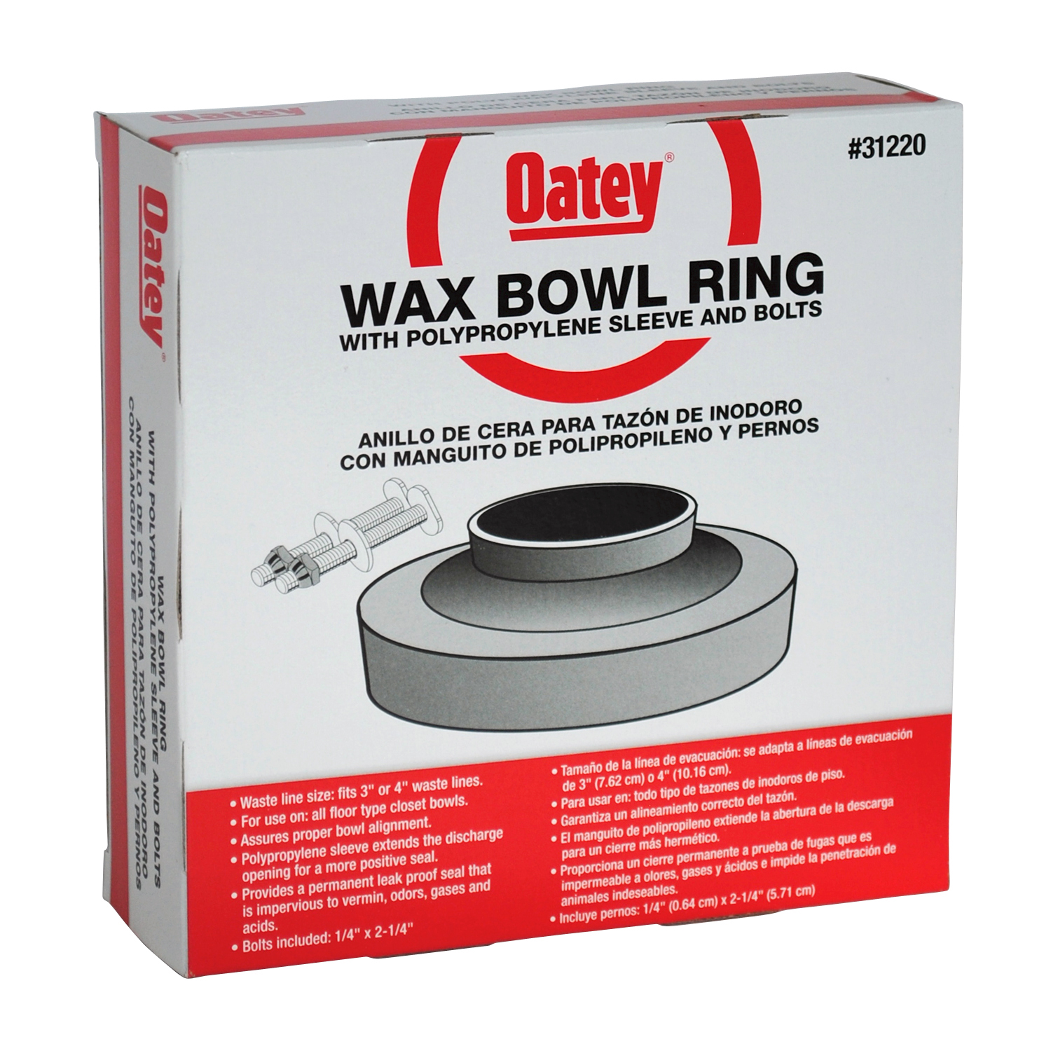 Oatey Wax Bowl Ring with Polypropylene Sleeve and Bolts