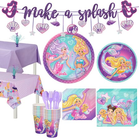 Barbie Party Plates (Party City Iridescent Barbie Mermaid Birthday Party Supplies for 16 Guests, Include Plates, Napkins, and)