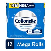 Cottonelle Ultra CleanCare Strong Toilet Paper, 12 Mega Rolls, Bath Tissue