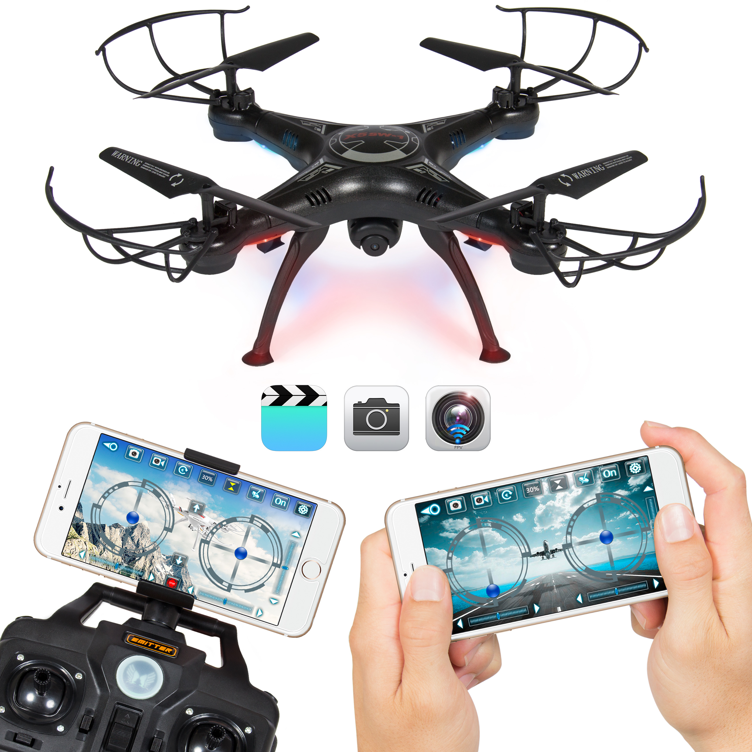 4 Channel 6-Axis Gyro Headless Remote Control Quadcopter FPV RC Drone W/ Wifi Camera For Real Time Video 2 Control Mode