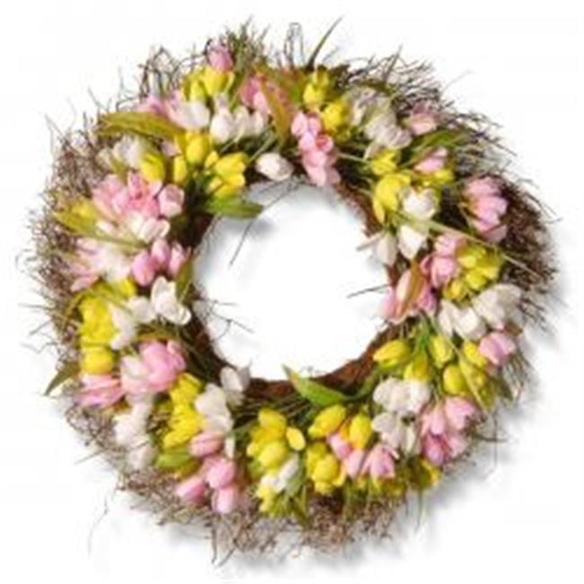 National Tree RAS-883MIX-1 22 in. Tulip Wreath - Yellow, Pink & White - image 1 de 1