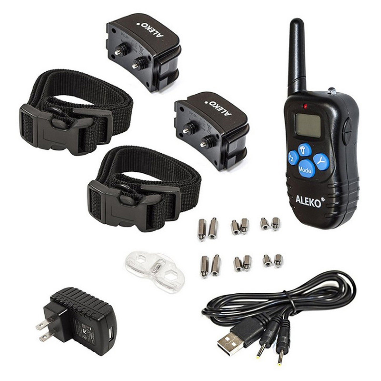 ALEKO TS-BC982D Remote Pet Training Collar for 2 Dogs Water-Resistant Dog Training Device