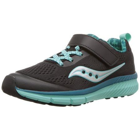 Saucony Girls' Ideal a/C Running Shoe, Black/Turquoise, 10.5 Wide US Little Kid (Saucony Kids Shoes)