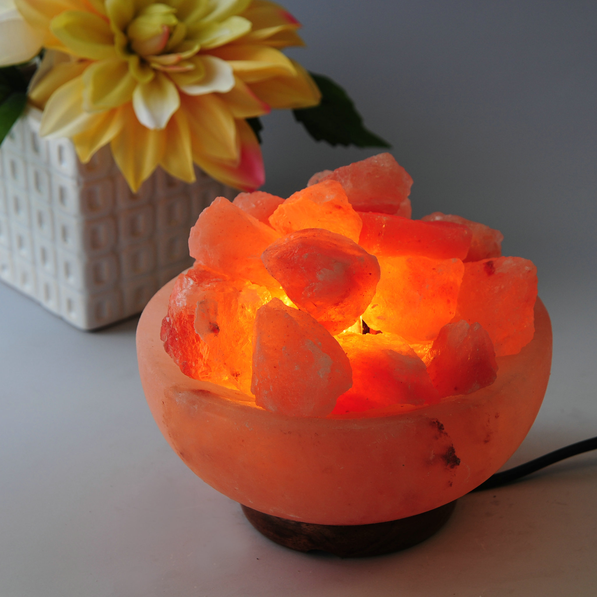 "JIC Gem Large 7"" Round 9-10 Lb Fire Himalayan Bowl Salt Lamp (FL01), With Dimmer Cord"