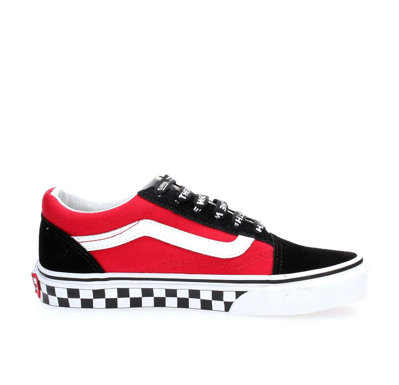 Vans Kids Logo Pop Old Skool Boy's Skate Shoes (5.5 US Big Kid)