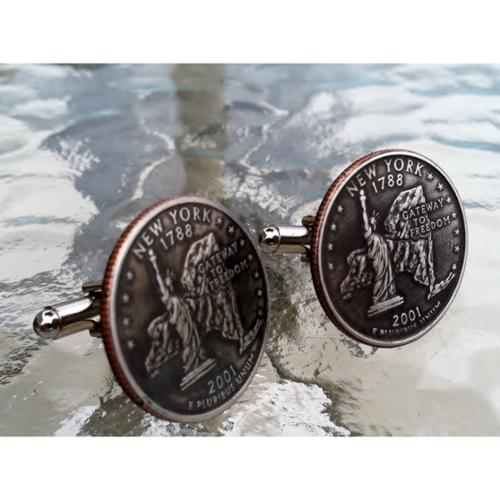 Bouncers Unlimited Handmade Antiqued Silvertone Men's New York State Quarter Cuff links