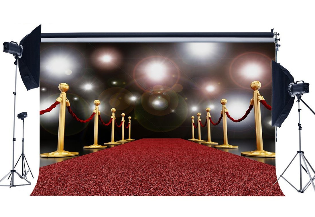 GoHeBe 5x7ft Bright City Background White Car and Red Carpet Cotton Polyester Photo Backdrop for Photographers