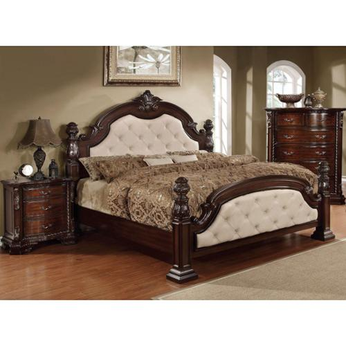 Furniture of America Kassania Luxury 2-piece Leatherette Bed with Nightstand Set Ivory - Cal. King