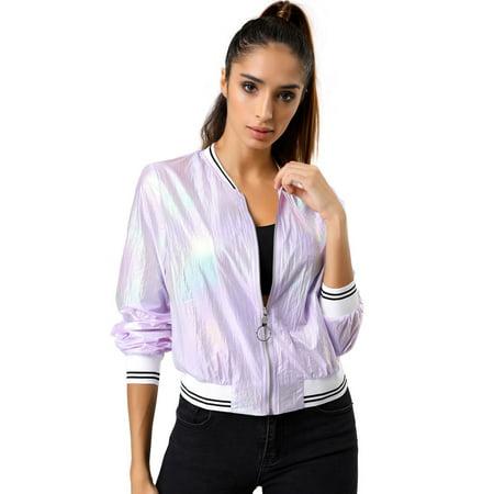 Metallic Bomber - Women's Holographic Stand Collar Metallic Lightweight Zip Bomber Jacket