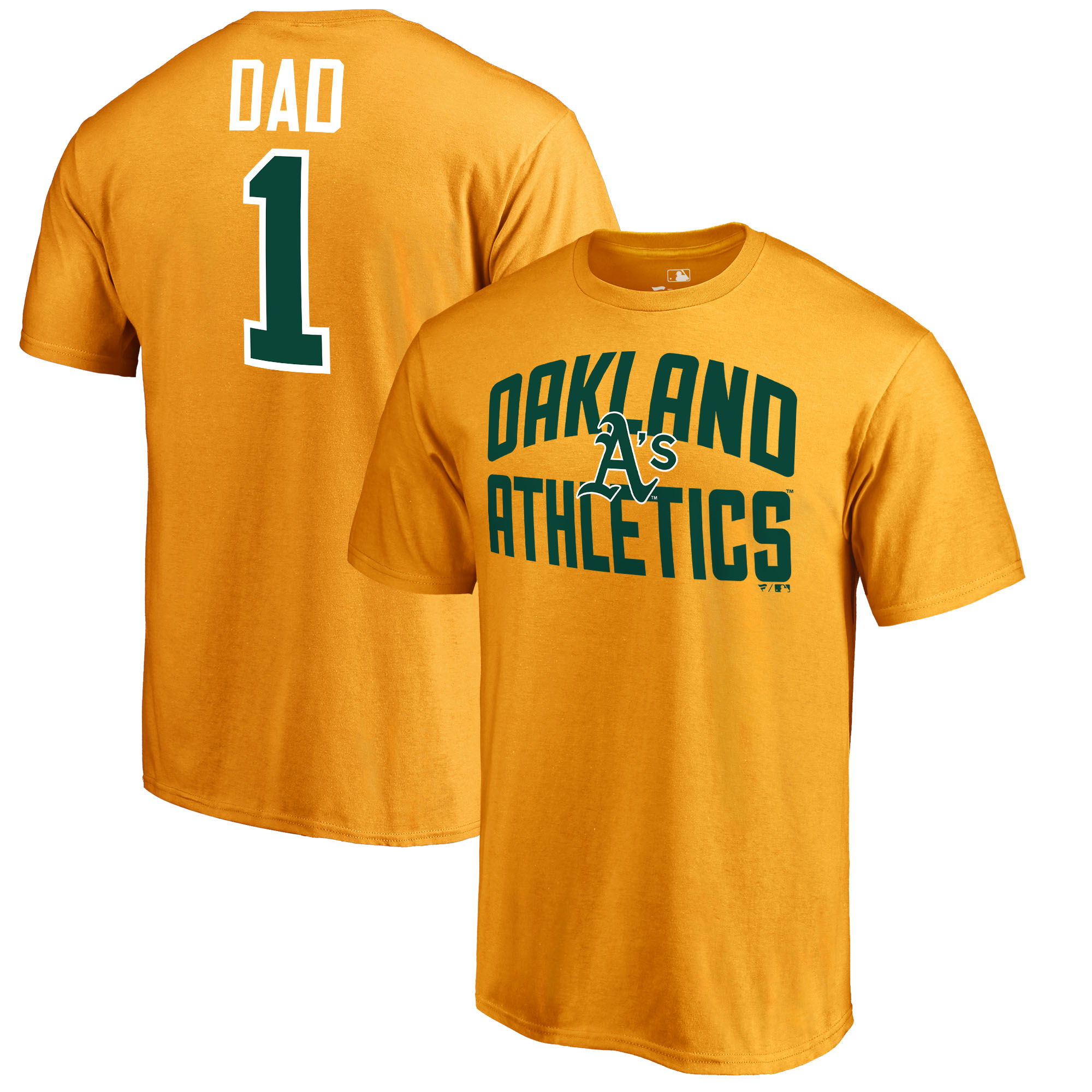 Oakland Athletics Fanatics Branded 2018 Father's Day Number 1 Dad T-Shirt - Gold
