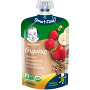 (Pack of 12) Gerber Organic Toddler Baby Food Banana Strawberry Raspberry Mixed Grain 3.5 oz. Pouch