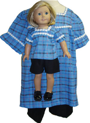 Matching Girl And Doll Shorts And Top Size 10 1/2