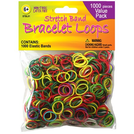 Stretch Band Bracelet Loops, Assorted Colors, 1000-Pack