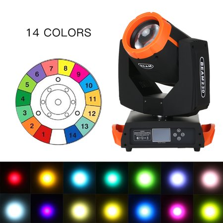 Colored Spotlights For Parties (230W Beam Moving He-ad Stage Light DMX512 16 Channel 14 Color Prism Rotating Lamp RGBW Gobo Lights Dimming Spotlight for Party Disco Outdoor Wedding)