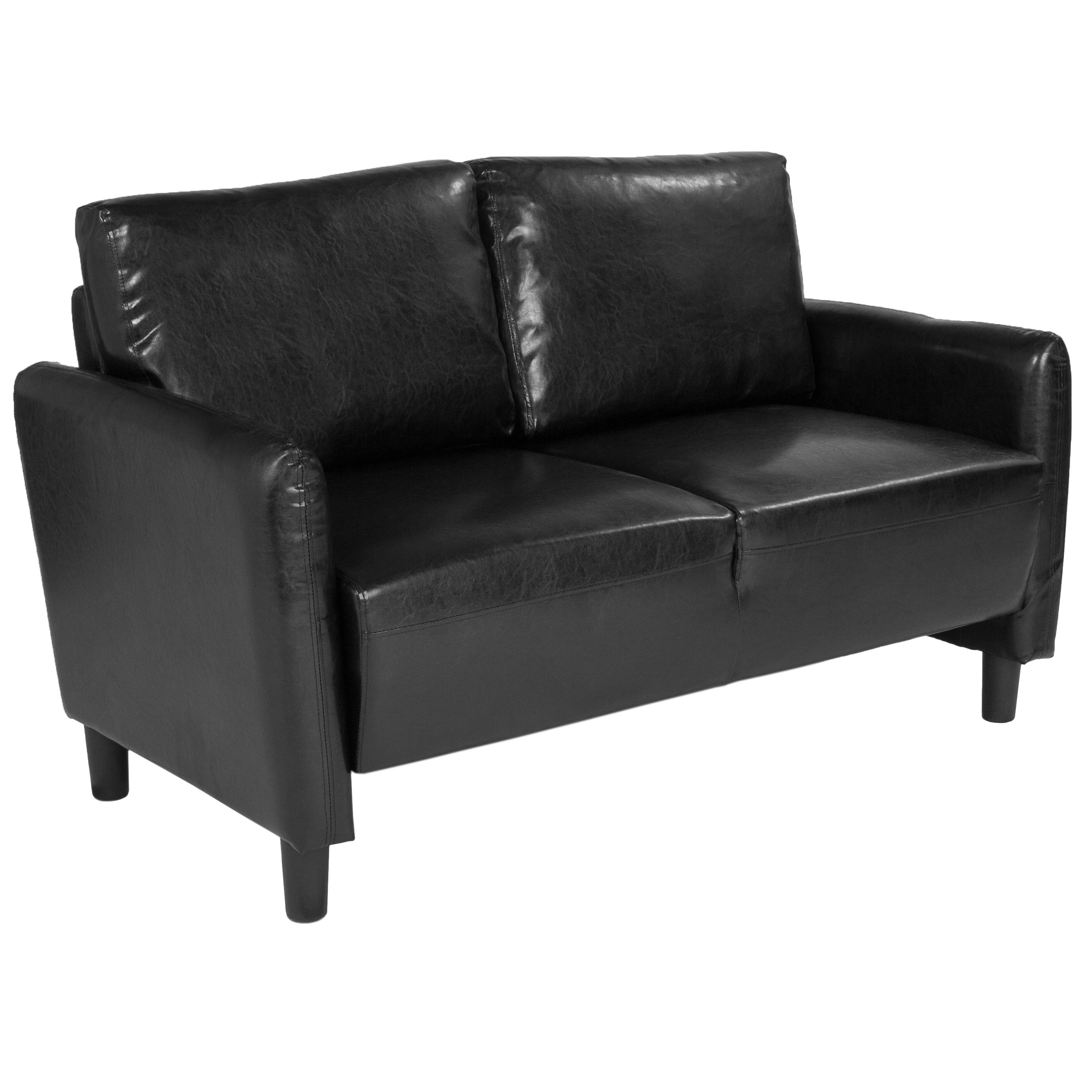 Candler Park Flash Furniture Upholstered Living Room Loveseat with Extended Side Panels and Rounded Arms in Dark Gray Fabric