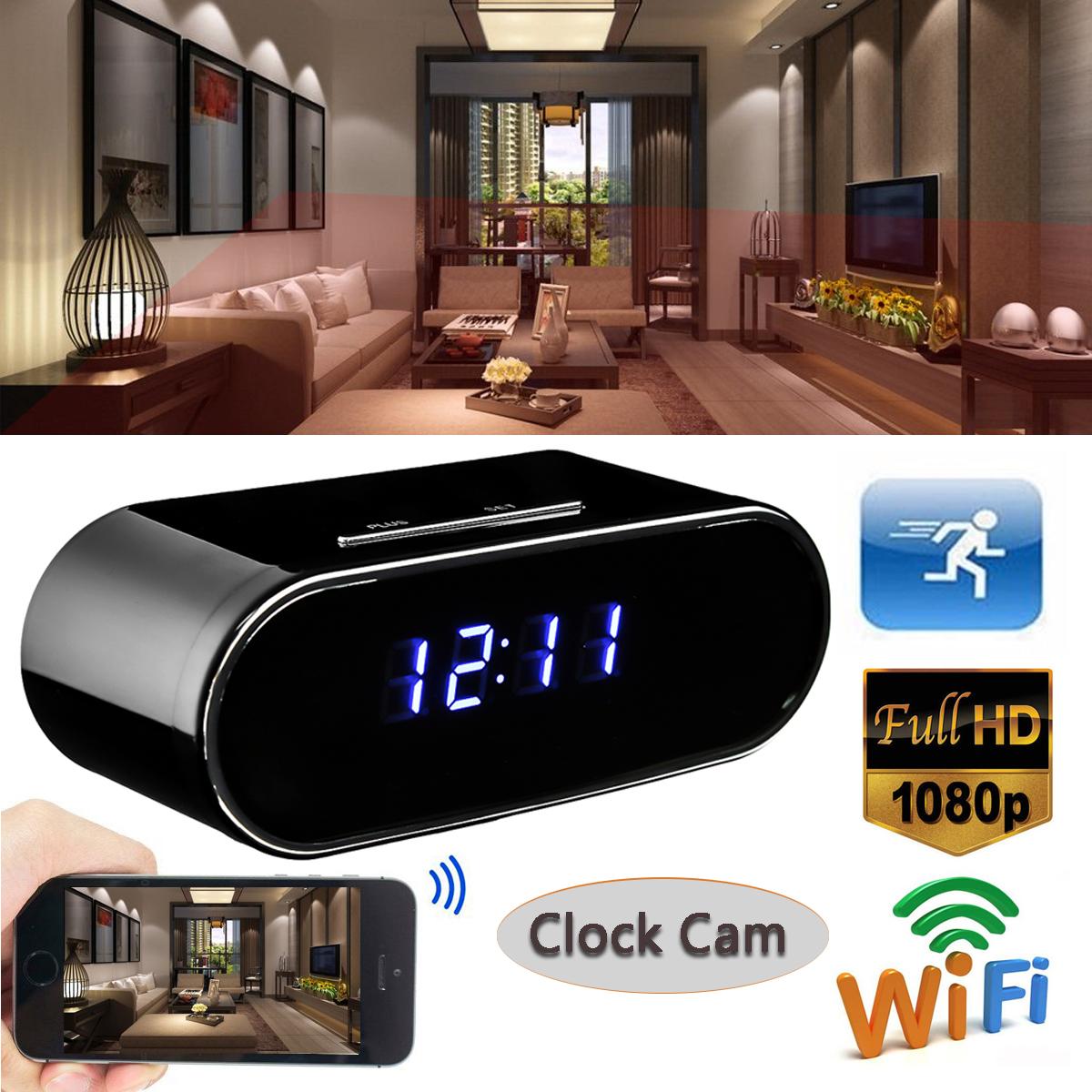 HD 1080P WiFi Wireless Hidden Camera Alarm Clock Video Recorder Motion Security Detection Realtime Covert Nanny Cam Home Surveillance DVR DV Camcorder Sound App Remote Monitoring