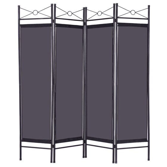 Costway Black 4 Panel Room Divider Privacy Screen Home Office Fabric Metal Frame