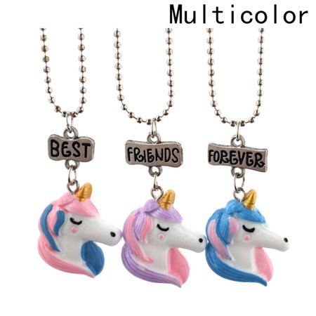 KABOER Set of 3 Best Friends Forever Necklace Set Kids Children Resin Pendant Necklace Unicorn Friendship Necklace Creative Gift for Friends Girl or
