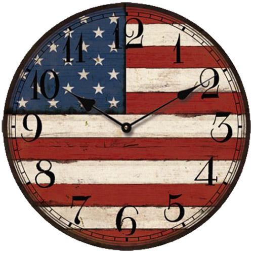 """USA Flag Clock, 13.3"""""""
