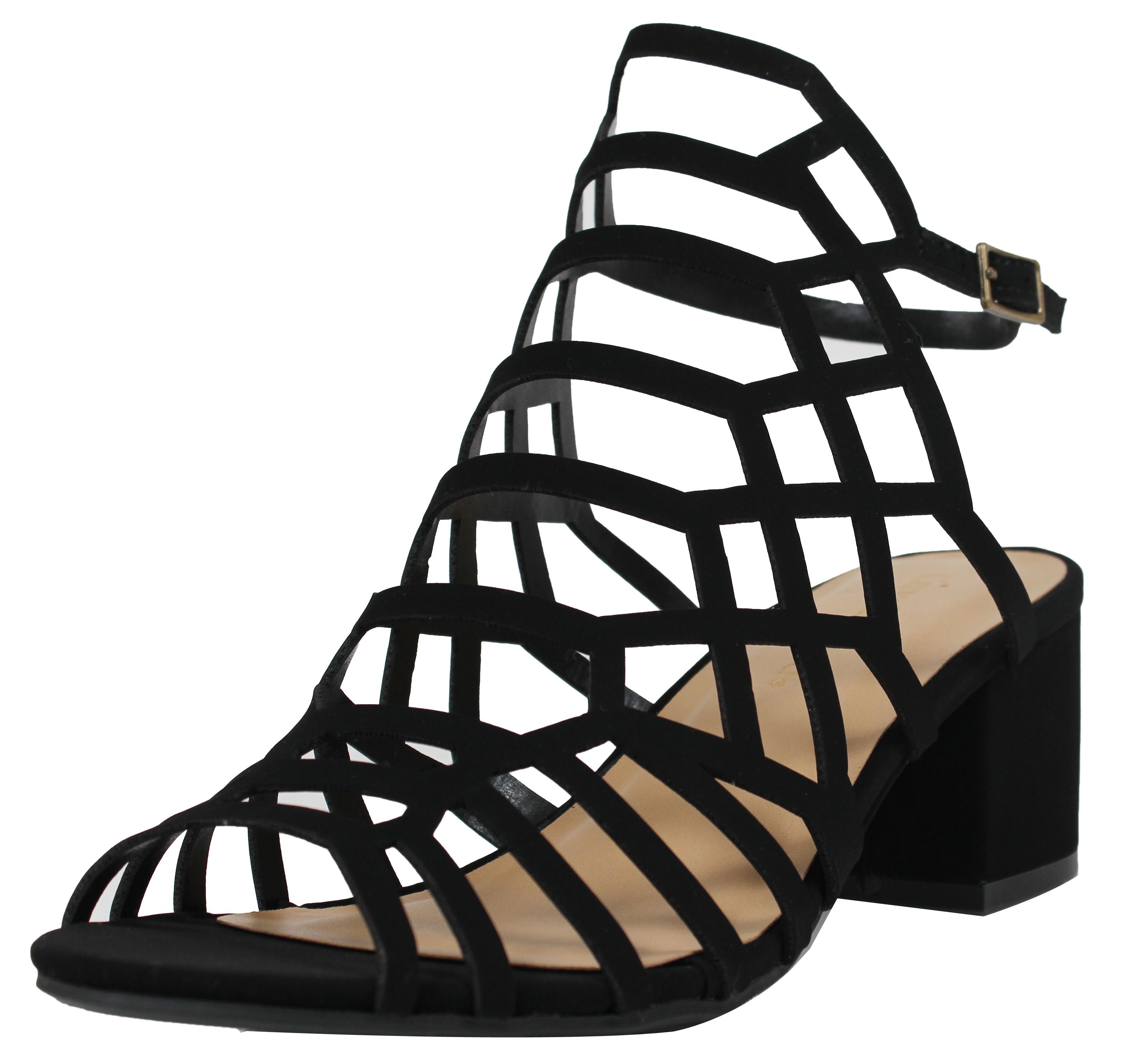 73885629623 City Classified Women s Open Toe Strappy Cutout Ankle Strap Chunky Mid Heel  Sandal (Black