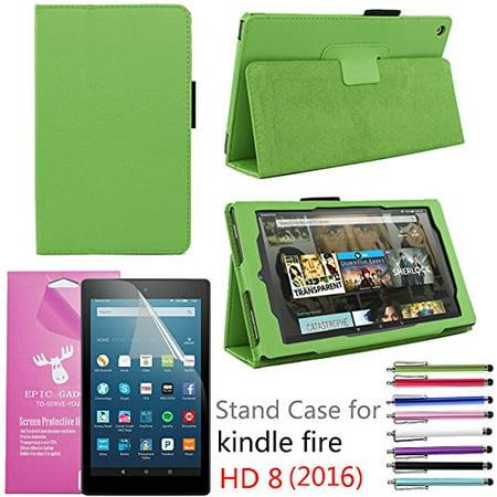 2016 Amazon Fire Hd 8  Case  Epicgadget Tm  Auto Sleep Wake Premium Pu Leather Folding Folio Case For  6Th Generation Fire Hd 8  8  Hd Display Tablet   Screen Protector   1 Random Color Stylus Green