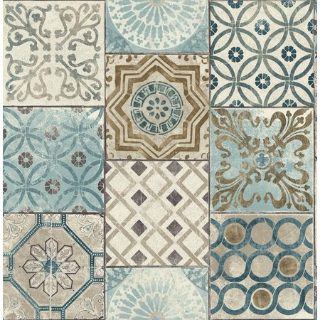 Nextwall Moroccan Style L And Stick Mosaic Tile Wallpaper Blue Copper Grey