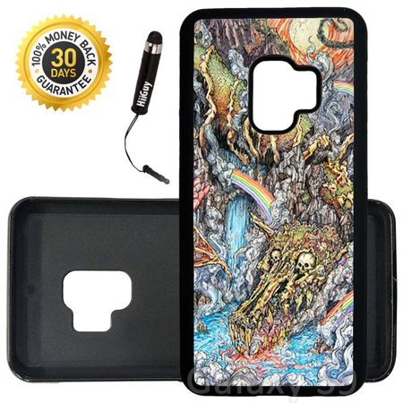 Custom Galaxy S9 Case (Rainbow Dragon Skull) Edge-to-Edge Rubber Black Cover Ultra Slim | Lightweight | Includes Stylus Pen by Innosub