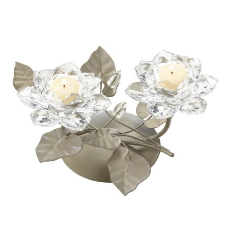Candle Holders Flower, Decorative Iron Candle Holders Clear Glass - Metal Stand