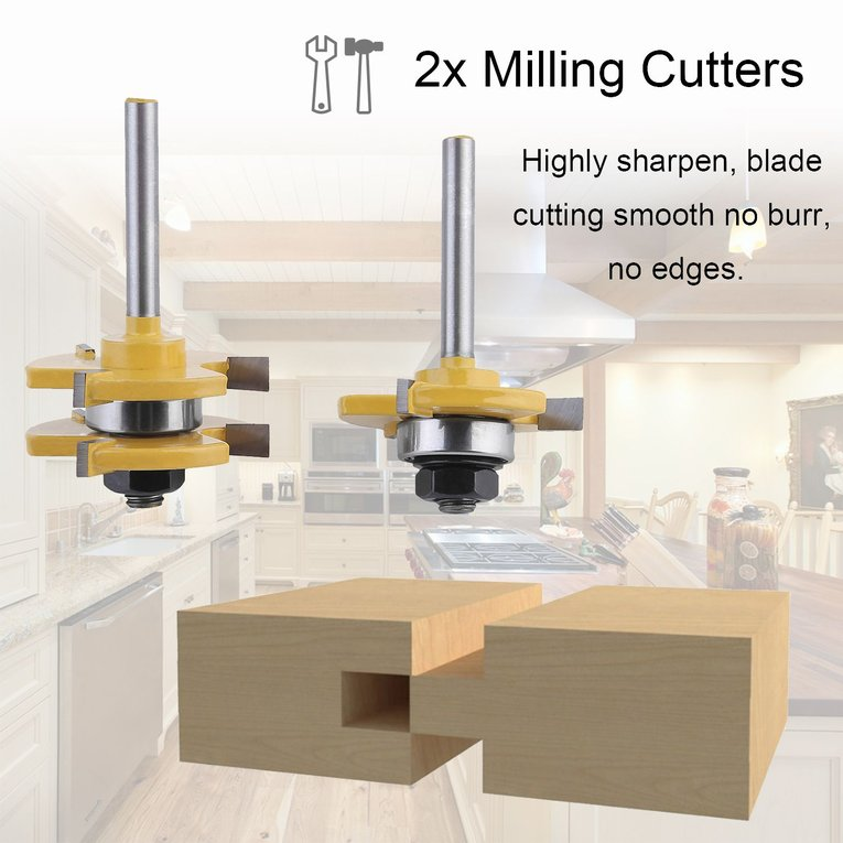 Milling Cutter Set 2PCS Tongue Groove Router Bit Set Milling Cutter Set 1/4 Inch Shank Router Bit