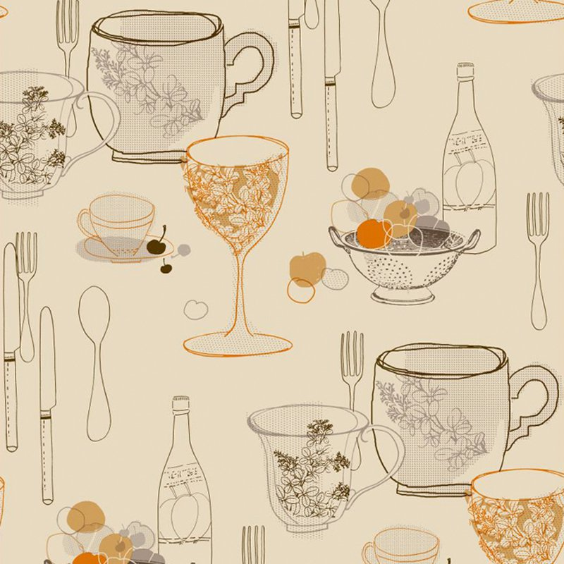 York Wallcoverings Bistro 750 Graphic Tableware 33' x 20.5'' Food and Beverage Wallpaper