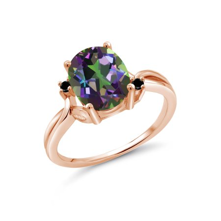Oval Green Quartz Ring - 3.03 Ct Oval Green Mystic Quartz Black Diamond 18K Rose Gold Plated Silver Ring
