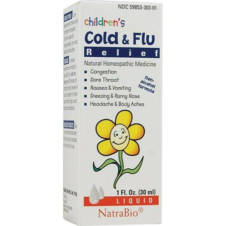 Rhume et grippe secours de NatraBio enfants, 1 Oz