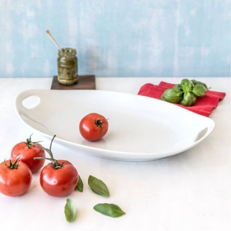 Better Homes And Gardens Porcelain Oval Handled Tray  White