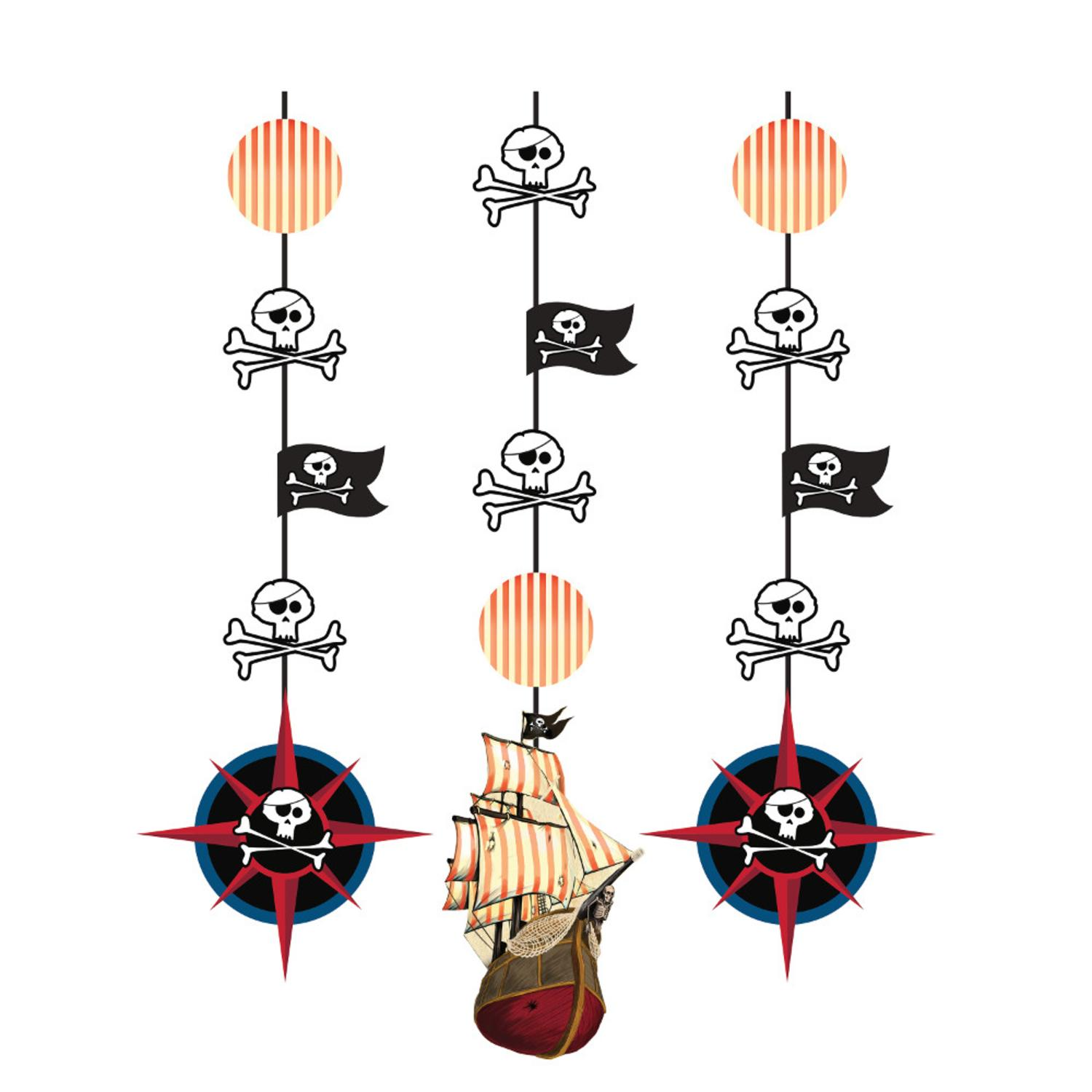 Club Pack of 18 Pirate Theme Map and Skulls Hanging Decoration