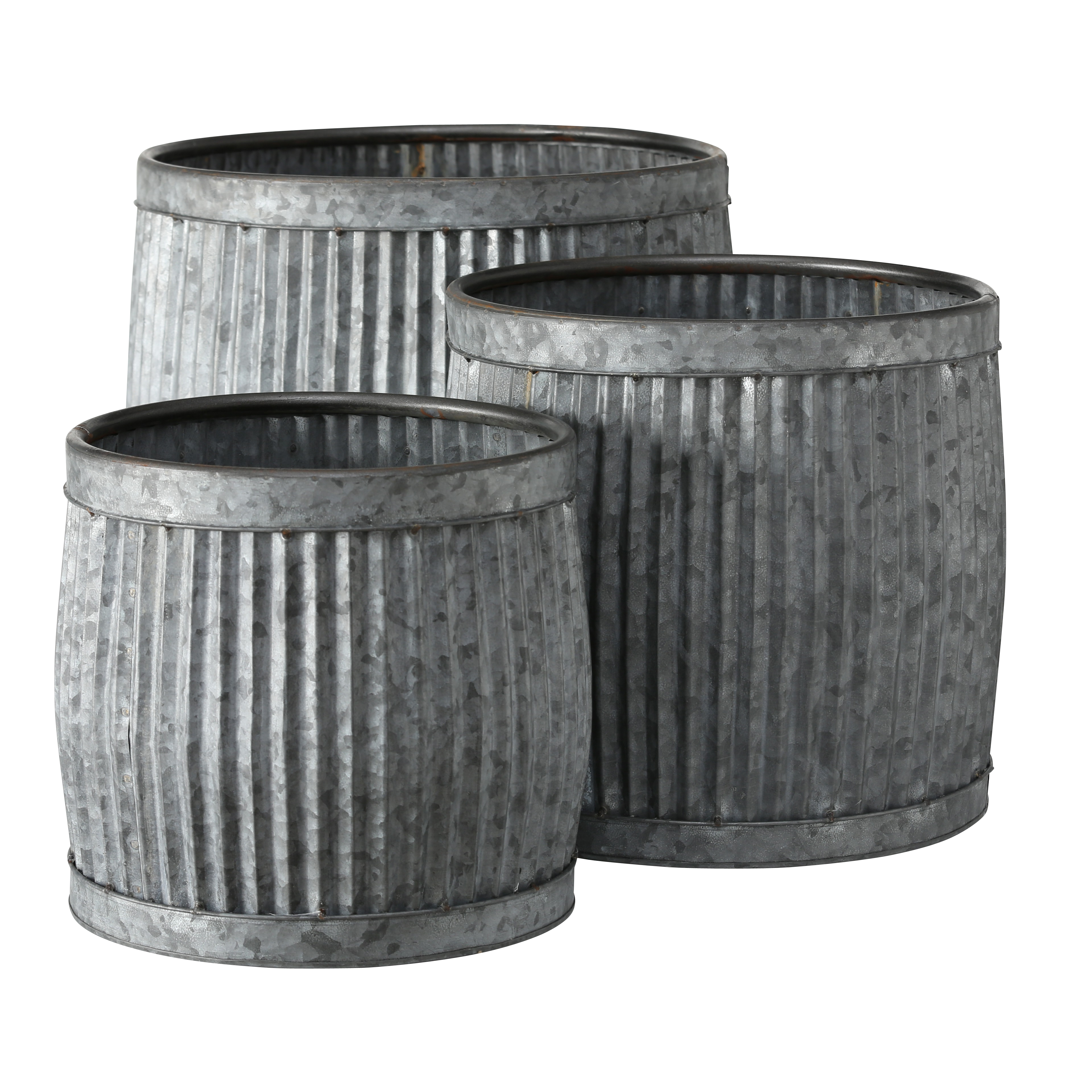 French Country Style Belly Bucket Planters Set Of 3 Galvanized Metal Corrugated Cache Pots Rustic Wash Basin From Over 1 Ft Diameter 17 12 Inches Walmart Com Walmart Com
