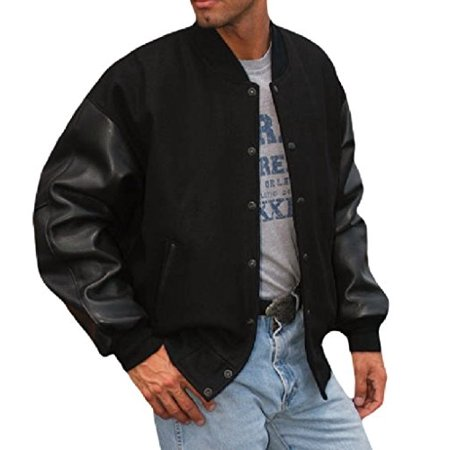 Reed Men's Premium Varsity Leather/wool Jacket Made in USA (2XT, Black) - All Time Low Varsity Jacket